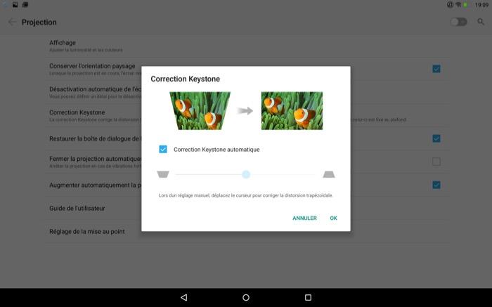 Lenovo YOGA Tab 3 Pro : possibilité de corriger la distorsion trapézoïdale