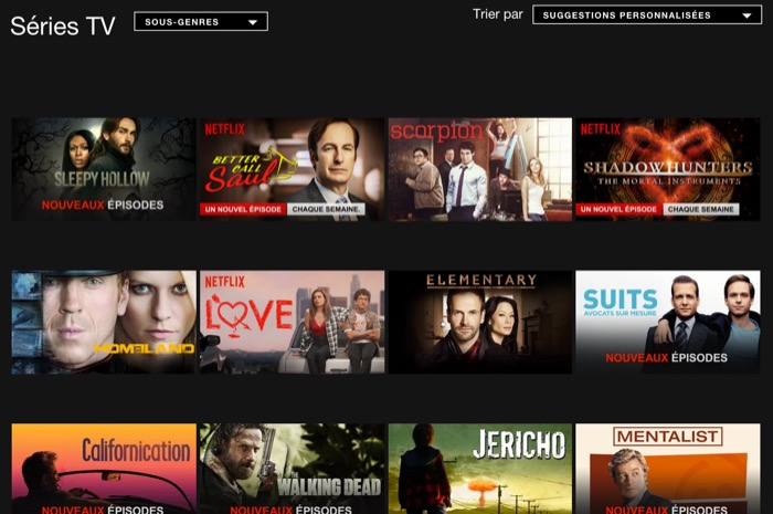 Netflix : catalogue des séries TV