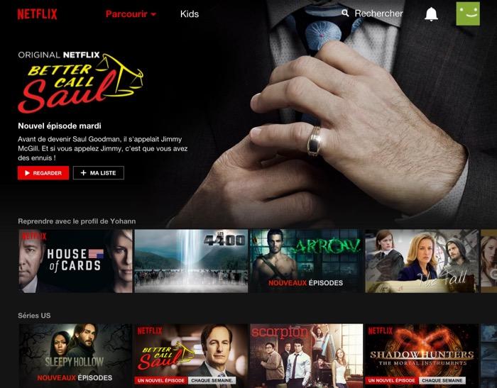 Netflix : visualisation d'un compte