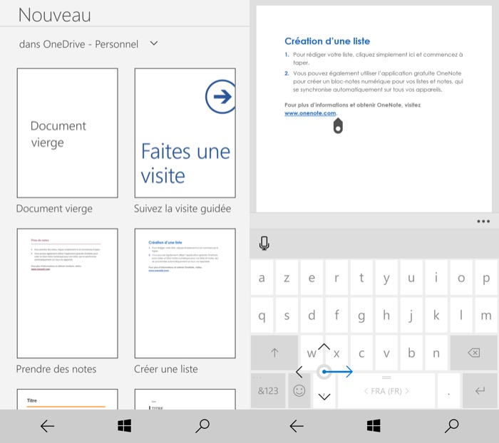 Windows 10 Mobile : utilisation de Word