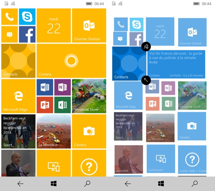 Windows 10 Mobile : écran d'accueil