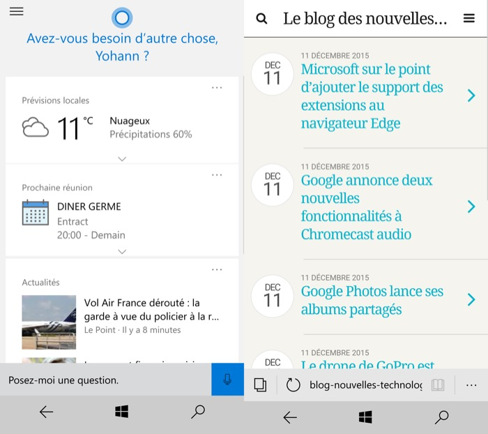 Windows 10 Mobile : Cortana et Microsoft Edge