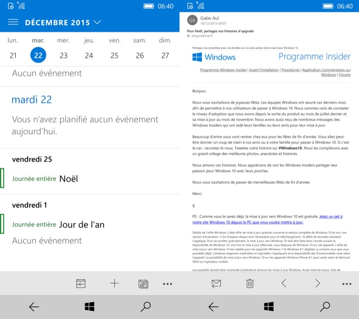 Windows 10 Mobile : Outlook et Agenda