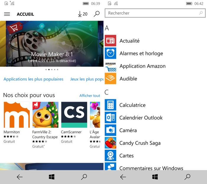 Windows 10 Mobile : Windows Store