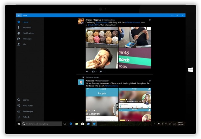 Twitter pour Windows 10 Mobile : mode sombre