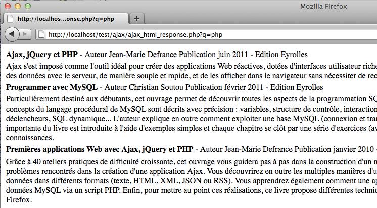 Afficher des résultats instantanés en utilisant jQuery, XML et PHP - Résultat d