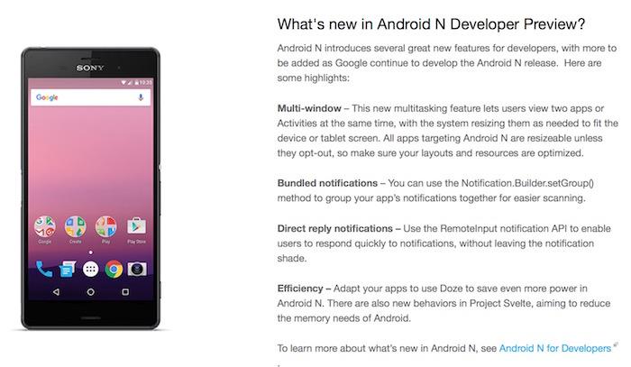 Android N : nouveautés