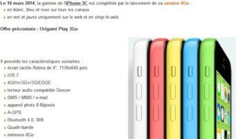 Apple prêt à commercialiser un iPhone 5C de 8 Go