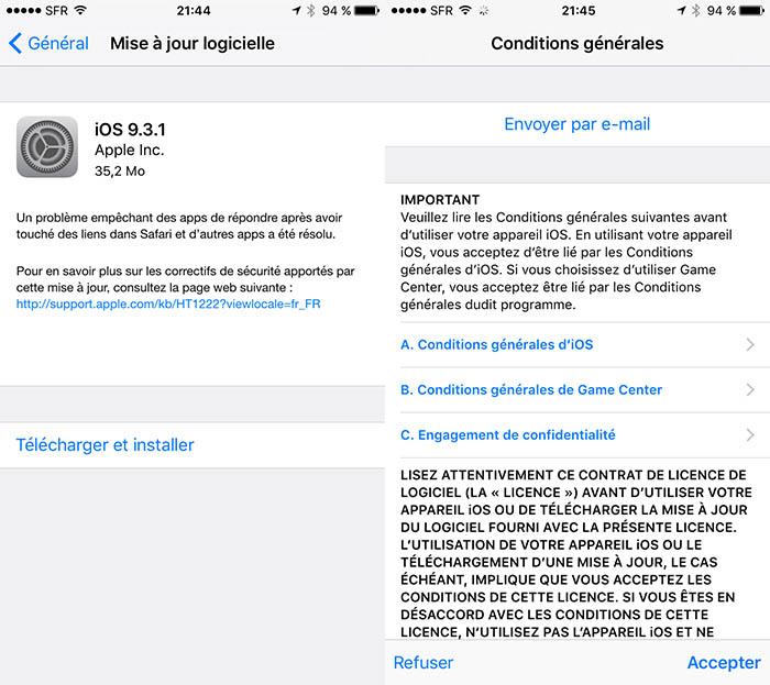 Apple publie iOS 9.3.1 avec un correctif lié au bug des liens Safari