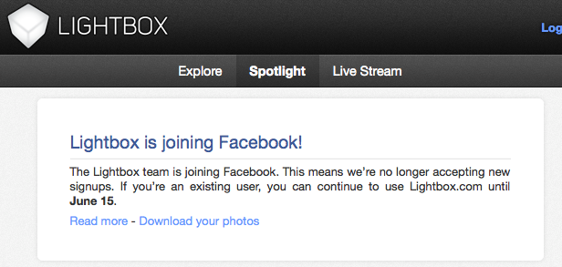 Après Instagram, Facebook englouti Lightbox !!! Il lui reste un mois d