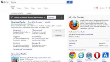 Bing favorise Microsoft Edge lorsque vous recherchez depuis Chrome ou Firefox
