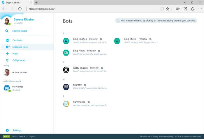 Bots disponibles dans Skype sur le Web