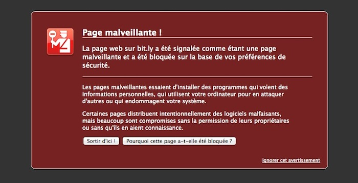 Chrome et Firefox font de Bit.ly une page malveillante