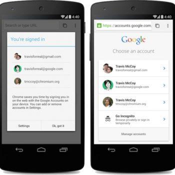 Chrome pour Android : authentification directe