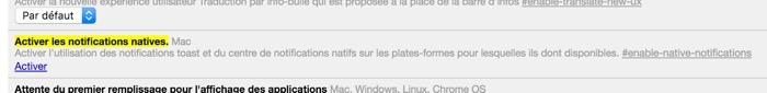 Activer les notifications natives dans chrome://flags