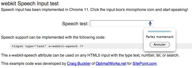Comment faire pour utiliser le champ de saisie vocale HTML5