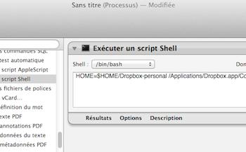 Comment faire pour utiliser plusieurs comptes Dropbox sur un seul ordinateur – Exécution du script dans Automator
