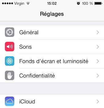 Accès aux paramètres sous iOS 7