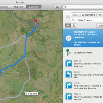 Concevez votre itinéraire sur Plans sur OS X Mavericks
