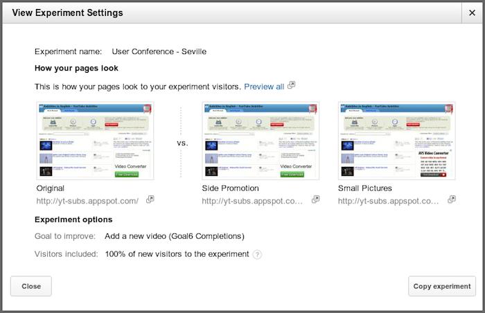 Des modifications apportées aux tests de contenu dans Google Analytics - Possibilité de copier des tests