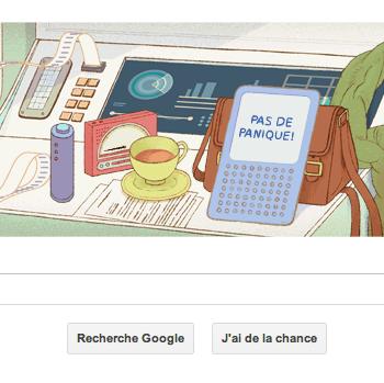 Douglas Adams en doodle du jour – Un doodle qui fait référence à de nombreuses occurrences du Guide du voyageur galactique