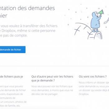 Dropbox : demandes de fichiers