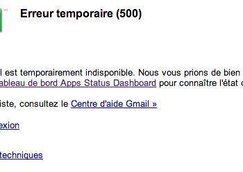 Erreur 500 pour Gmail et Google+