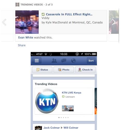 Facebook ajoute les vidéos tendances dans son flux d