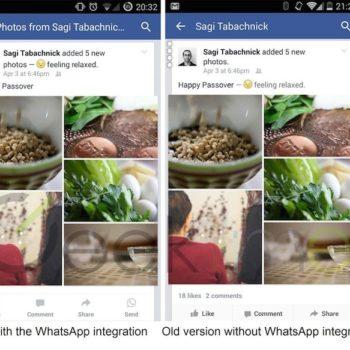Facebook intègre le bouton WhatsApp dans la version bêta sur Android