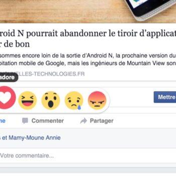Facebook ajoute ses émoticônes de réaction avec le bouton J