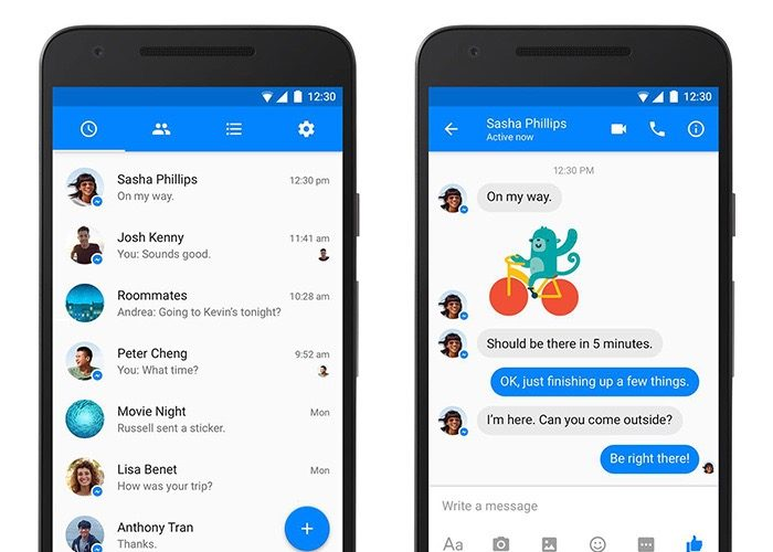 Facebook Messenger passe officiellement à la conception Material Design