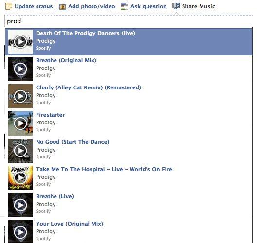 Facebook teste une option Share Music à côté de la mise à jour du statut