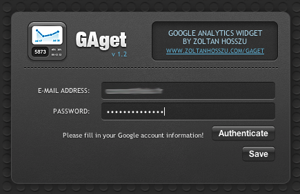 GAget - Connexion à Google Analytics