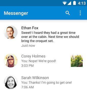 Google Messenger : liste des conversations