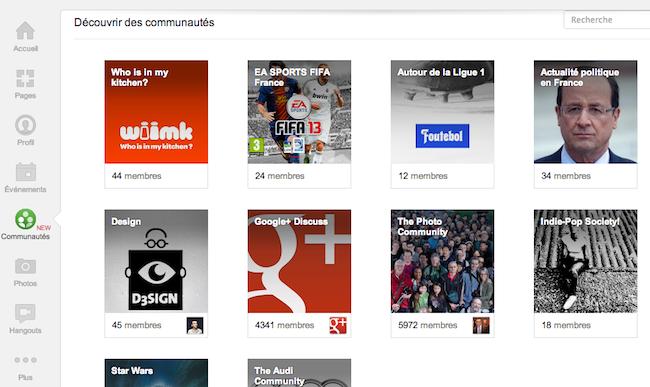 Google lance Google+ Communautés, et Snapseed Pour Android - Des exemples de communautés