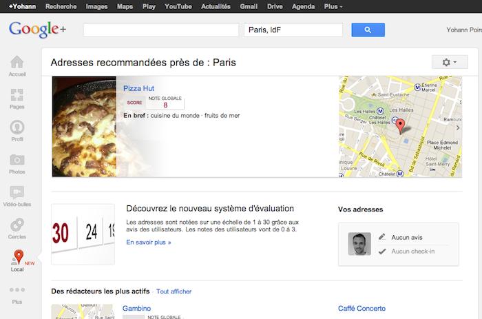 Google+ Local débarque dans le réseau social de Google pour trouver restaurants, bars, etc … – Local sur Google+