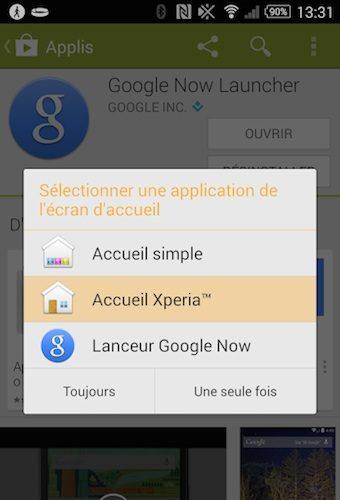 Choix du lanceur Google Now Launcher après installations sur le Xperia Z2