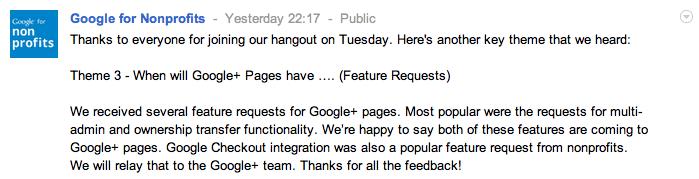 Google+ Pages : multi-admins et transfert de propriétaire