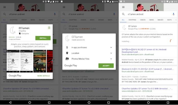 Installer des applications Android depuis les résultats de recherche Google