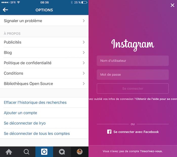Instagram lance officiellement sur le support de plusieurs comptes