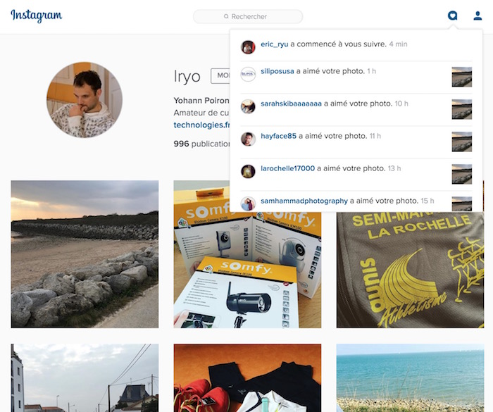 Instagram ajoute un centre de notifications à sa version de bureau