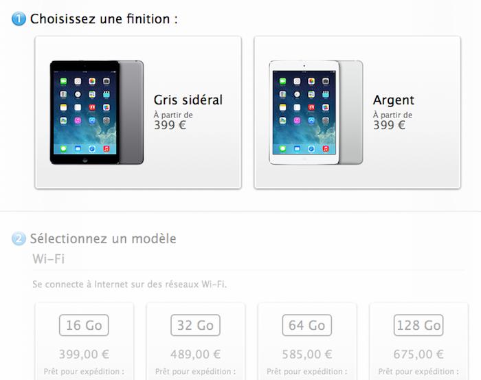 ipad mini retina apple met en vente en ligne sa tablette au prix de 399 euros. Black Bedroom Furniture Sets. Home Design Ideas