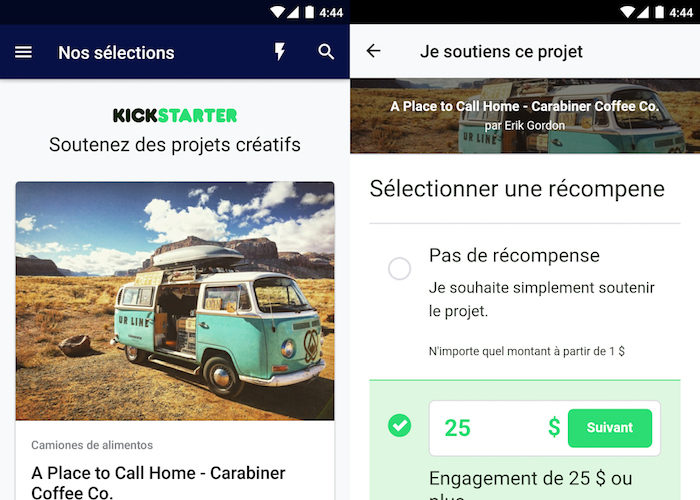 KickStarter a enfin une application Android