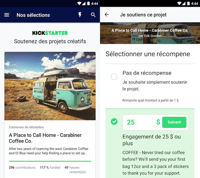 KickStarter a enfin une application Android