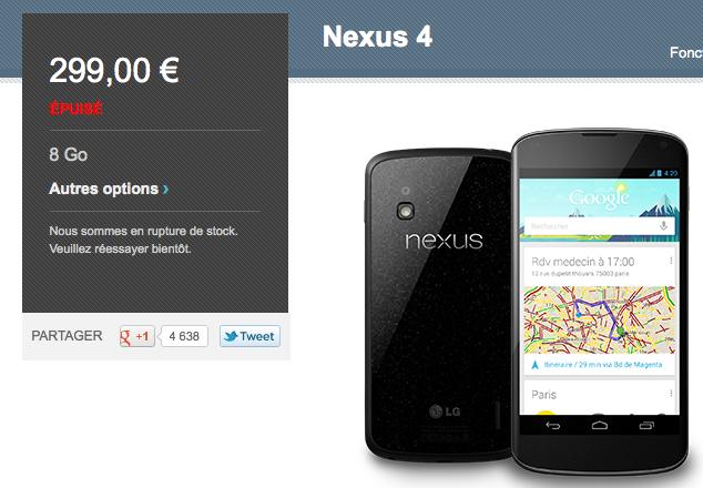 Le Google Nexus 4 se vend en moins d