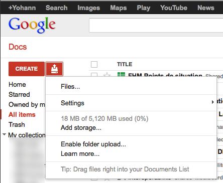 Le stockage de Google Docs augmente de 5 Go annonçant l