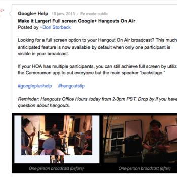 Les Hangouts On Air sont maintenant par défaut en mode plein écran pour les émissions solos