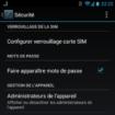 Paramètres de sécurité Android