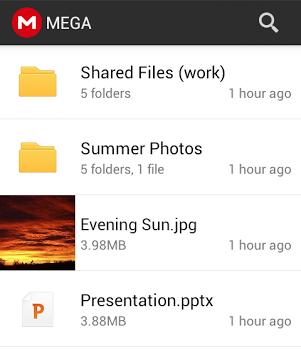 Liste des fichiers de Mega