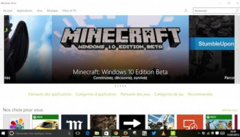 Minecraft sur le Windows Store de Windows 10